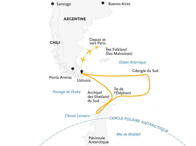 Croisière Géorgie du Sud et péninsule Antarctique