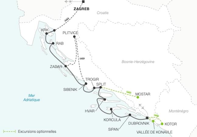 Croisière Yachting en Croatie de Dubrovnik à Zagreb
